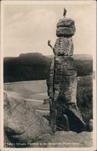 Pfaffendorf-Königstein (Sächsische Schweiz) Kletterer an der Barbarine 1934