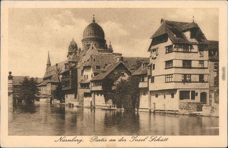 Ansichtskarte Nürnberg Partie an der Insel Schütt - Synagoge 1927