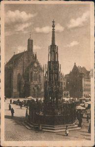 Ansichtskarte Nürnberg Marktplatz, Schöner Brunnen und Frauenkirche 1931
