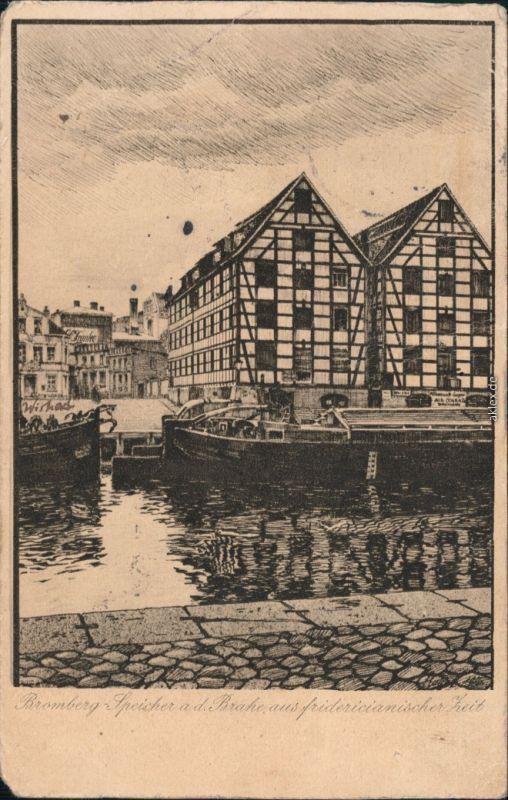 Ansichtskarte Bromberg Bydgoszcz Speicher an der Brahe 1923