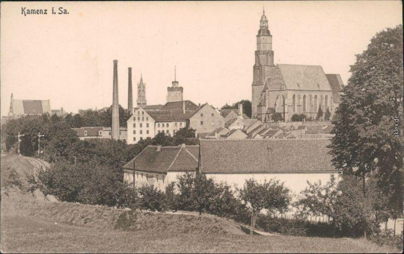 Ansichtskarte Kamenz Kamjenc Partie an der Stadt, Fabrikanlagen 1914
