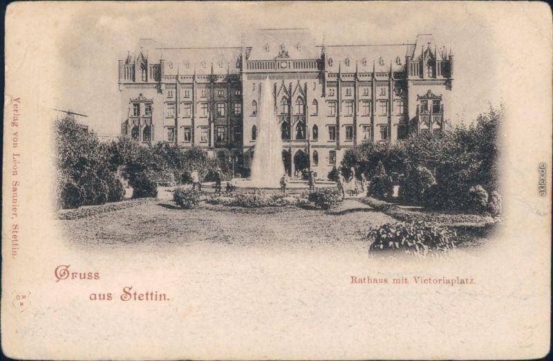 Ansichtskarte Stettin Szczecin Rathaus mit Viktoriaplatz 1900
