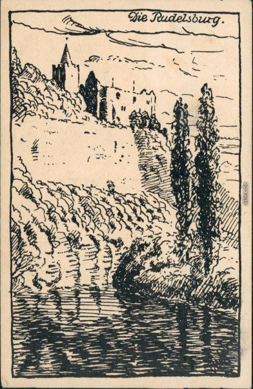 Saaleck-Bad Kösen Künstlerkarte Rudelsburg (Federzeichnung) 1936