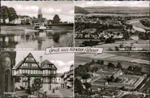 Ansichtskarte Höxter (Weser) Dampfer, Panorama, Dechanei, Schloß Corvey 1985