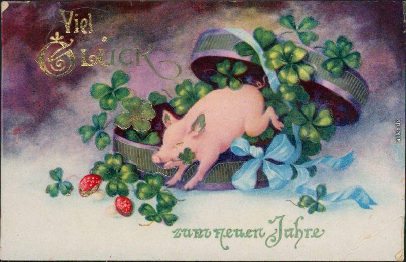 Ansichtskarte  Glückwunsch - Neujahr: Schwein, Kleeblatt 1936