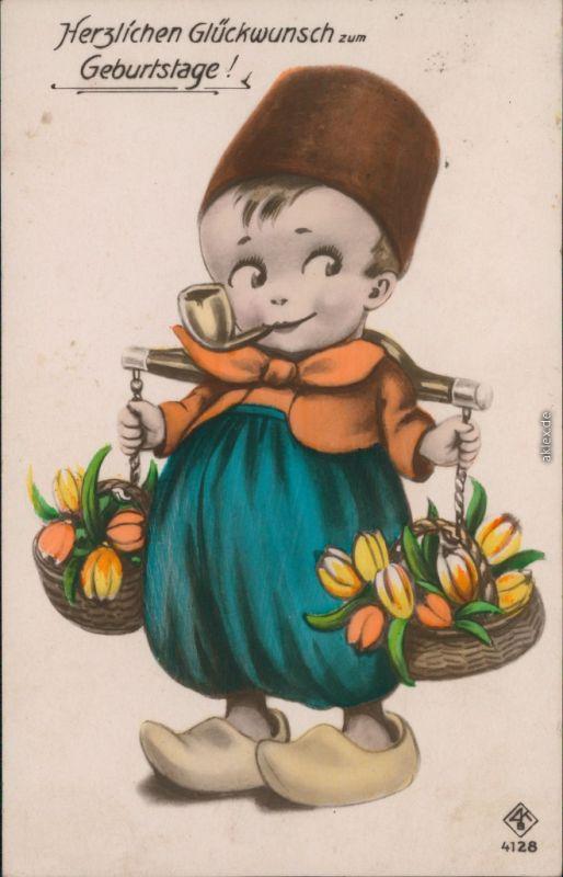 Glückwunsch/Grußkarten: Geburtstag - Kind mit Blumenkörbe 1938