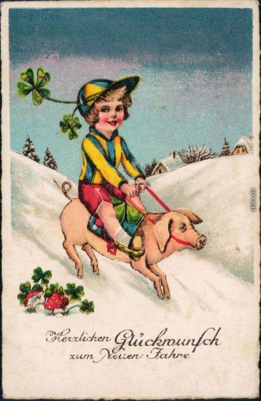 Ansichtskarte  Glückwunsch - Neujahr/Sylvester - Kind auf Schwein 1937