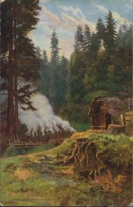 Ansichtskarte  Köhler im Schwarzwald - Künstlerkarte 1942