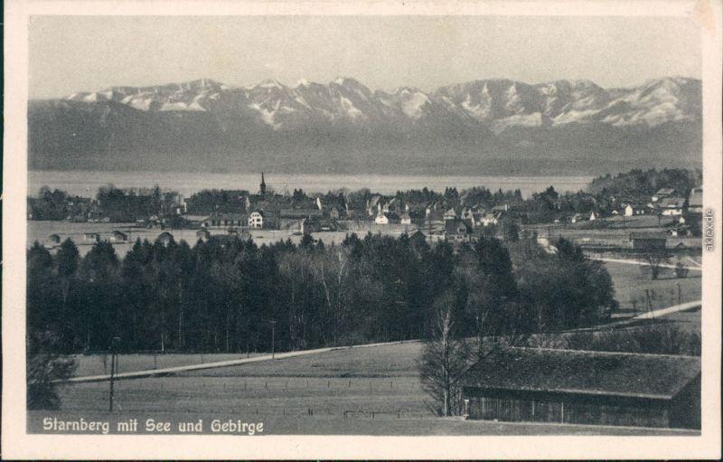 Ansichtskarte Starnberg Stadt mit See und Gebirge 1932