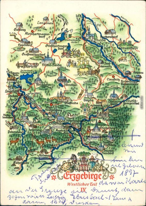 Ansichtskarte Sayda Karte vom Erzgebirge und dem Umland g1959