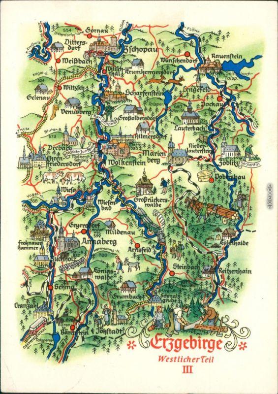 karte erzgebirge Ansichtskarte Marienberg Karte vom Erzgebirge und dem Umland g1959