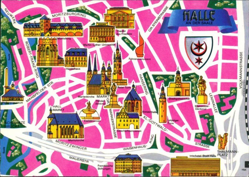 Ansichtskarte Halle (Saale) Stadtkarte - mit vielen Sehenswürdigkeiten 1986