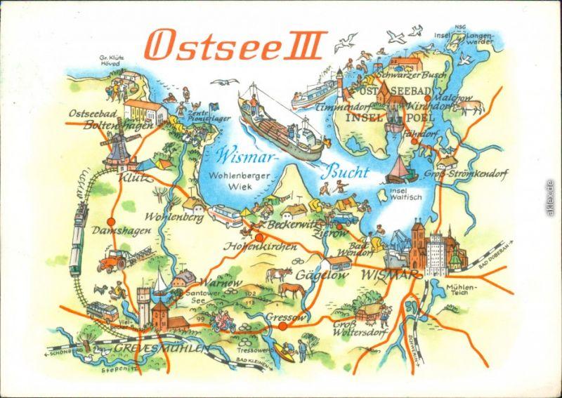 Ansichtskarte Ostsee Zwischen Boltenhagen Und Poel Landkarte G1977