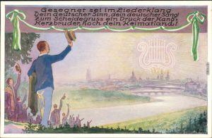 Dresden Künstlerkarte 1. Sächsisches Sängerbundesfest - Silouette 1925