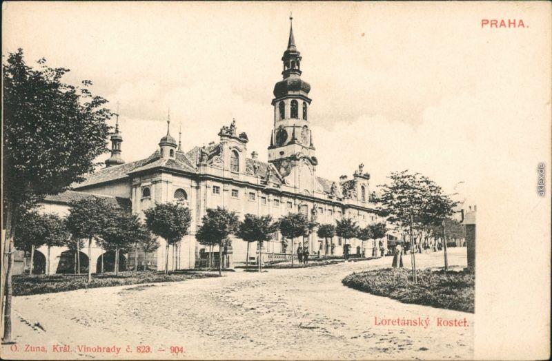 Ansichtskarte Prag Praha Loretansky Kostel - Straßenpartie 1906