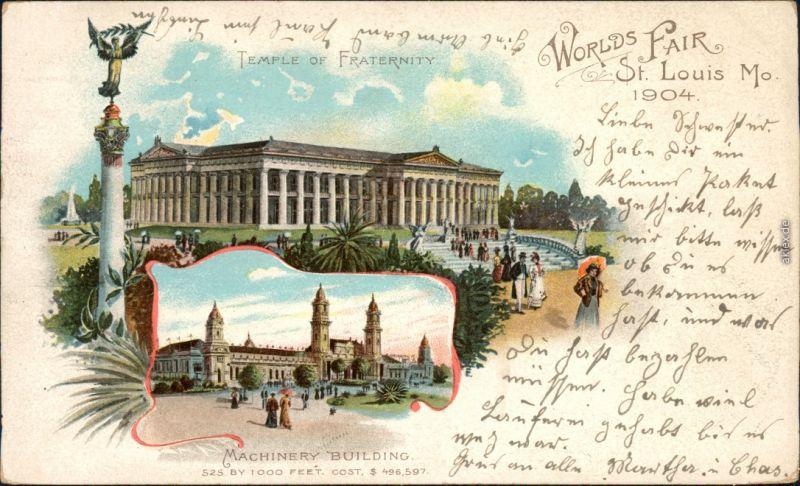 Ansichtskarte St. Louis 2 Bild Litho: Worlds Fair Vintage Postcard g1904