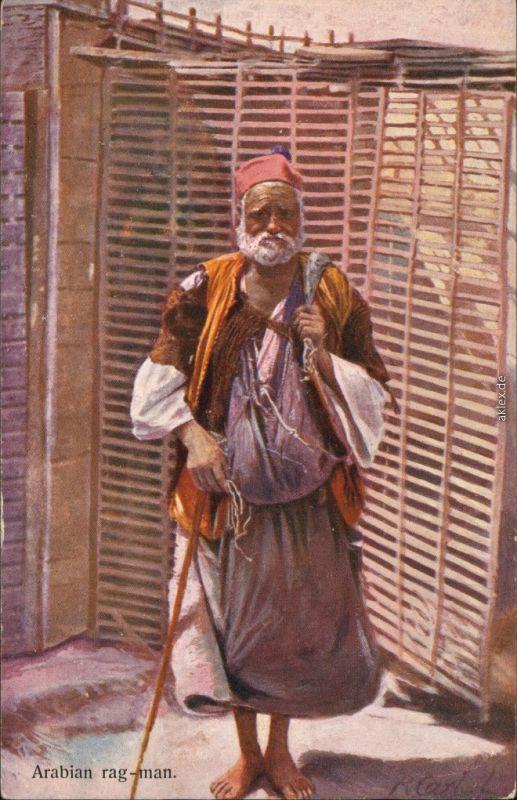 Ansichtskarte  Arabian Rag-man, arabische Typen 1913