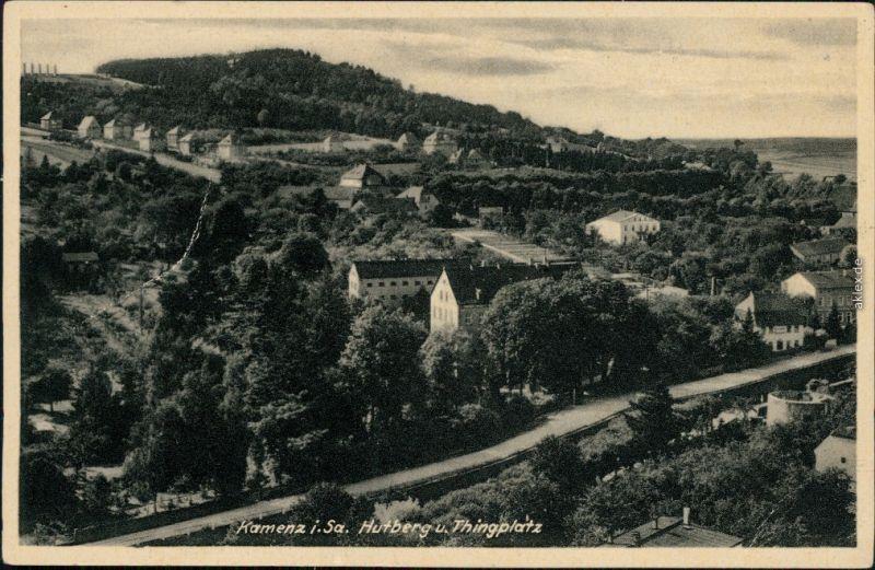Ansichtskarte Kamenz Kamjenc Hutberg, Stadt und Thingplatz 1940