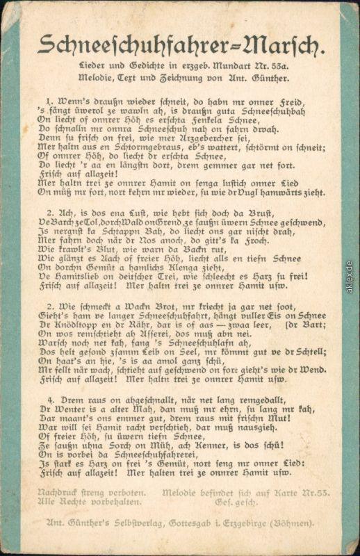 Anton Günther Gottesgab  Liedkarte: Schneeschuhfahrer Marsch - Erzgebirge 1909