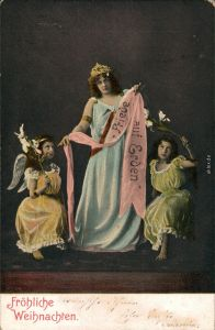 Ansichtskarte  Weihnachten: Friede auf Erden - Frau Engel 1904