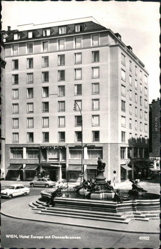 Ansichtskarte Wien Hotel Europa Mit Donnerbrunnen 1965