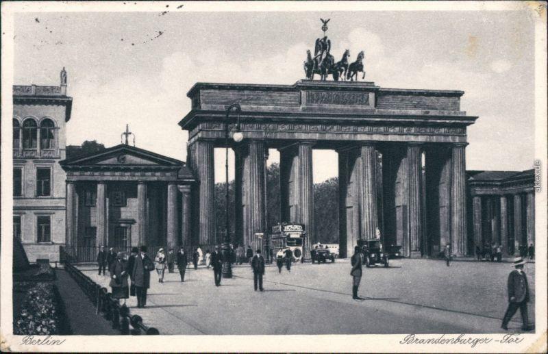 Ansichtskarte Mitte-Berlin Brandenburger Bus Tor 1933