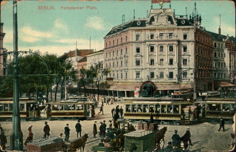 Ansichtskarte Tiergarten-Berlin Potsdamer Platz Straßenbahn Hotel Bellevue 1911