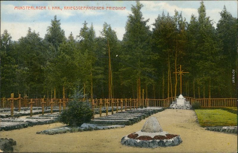 Ansichtskarte Munster-Lager Kriegsgefangenen Friedhof 1915