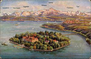 Ansichtskarte Konstanz Blick auf die Insel Mainau - Vogelperspektive 1923