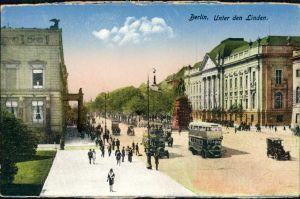 Ansichtskarte Mitte-Berlin Unter den Linden Bus 1914