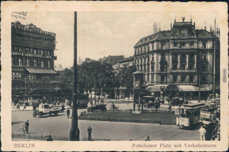 Ansichtskarte Tiergarten-Berlin Potsdamer Platz mit Verkehrsturm 1947