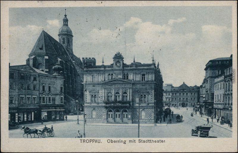 Ansichtskarte Troppau Opava Oberring mit Stadttheater - Geschäfte 1924