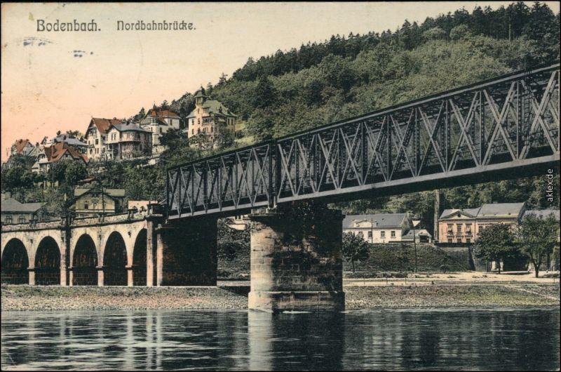 Tetschen-Bodenbach Decín Partie an der Nordbahnbrücke - Stadt 1911