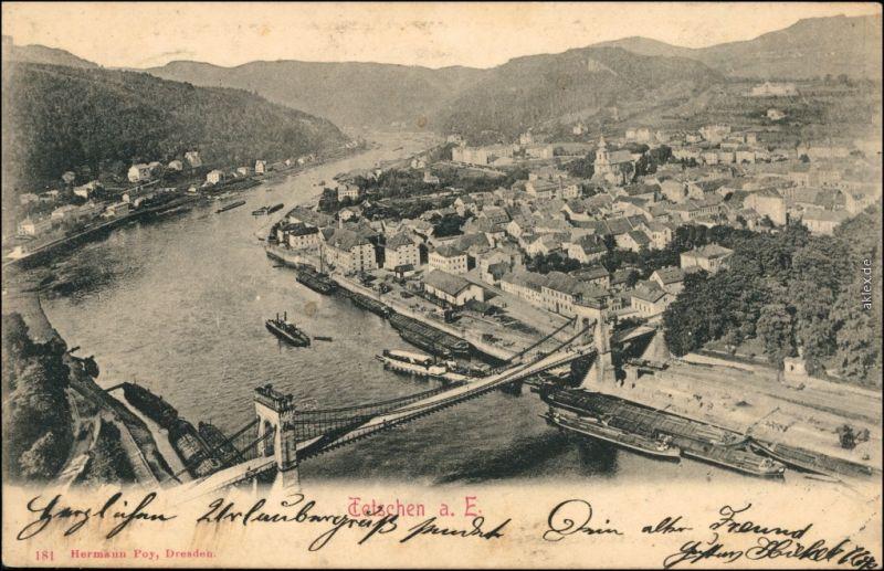 Tetschen-Bodenbach Decín Blick von der Schäferwand auf die Stadt 1903