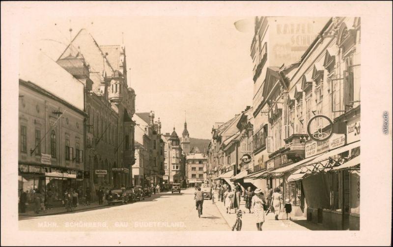 Fotokarte Mährisch Schönberg Šumperk Straßenpartie - Geschäfte Mück 1936