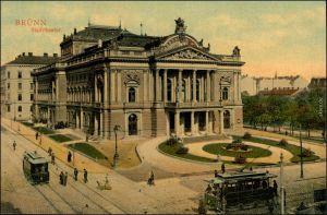 Ansichtskarte Brünn Brno Stadttheater - Straßenbahn 1907