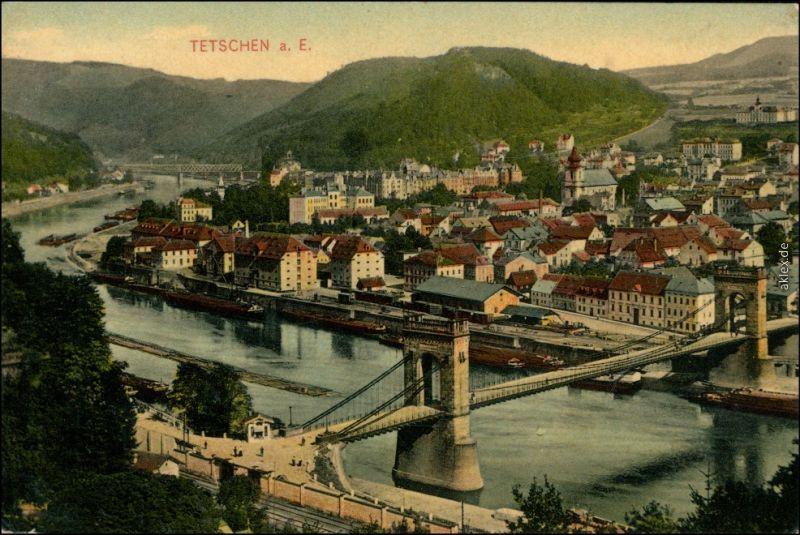 Ansichtskarte Tetschen-Bodenbach Decín Blick auf die Stadt 1915