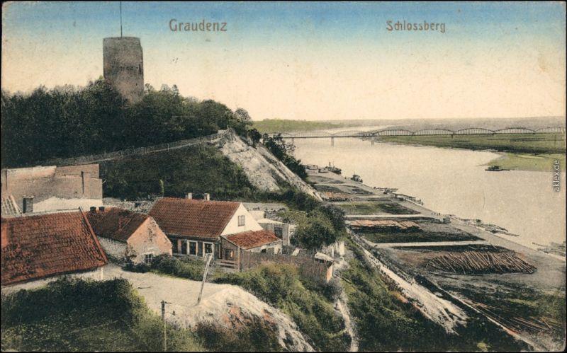 Ansichtskarte Graudenz Grudziądz Holzplatz, Häuser und Schloßberg 1915