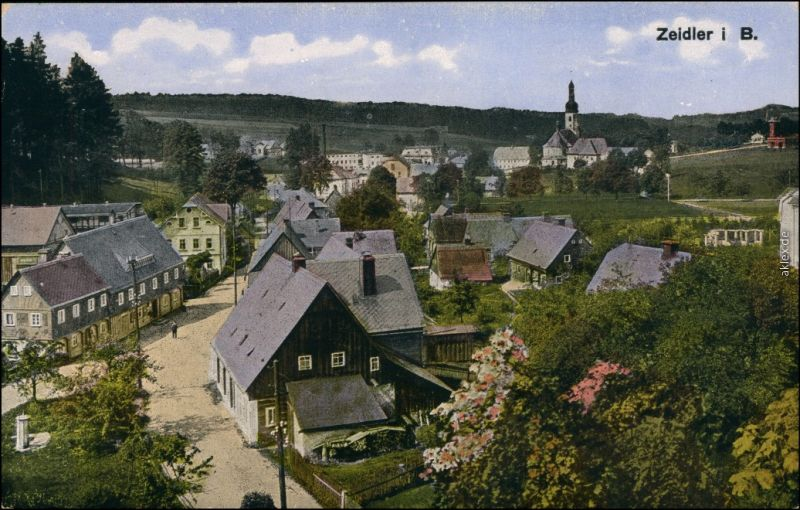 Zeidler Brtniky Straßenpartie in der Stadt b Ehrenberg  Děčín Tetschen  1913