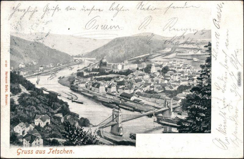Tetschen-Bodenbach Decín Blick auf die Stadt - Künstlerkarte 1905