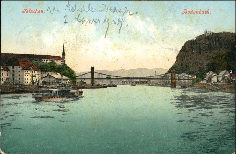 Tetschen-Bodenbach Decín Blick auf Stadt, Brücke und Dampfer 1906
