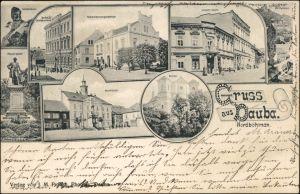 Dauba Dubá MB: Marktplatz, Gasse, Straße und Denkmal b Leipa Liberec  1905