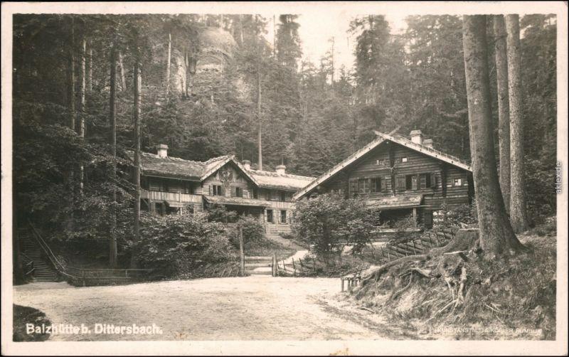 Dittersbach  Jetřichovice Balzhütte - Weg  b Tetschen Decin 1932