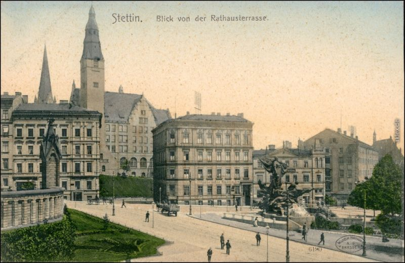 Stettin Szczecin  Straße Geschäft Gebrüder Solms 1908
