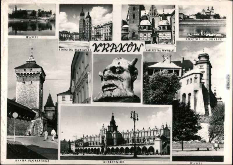 Ansichtskarte Krakau Kraków Mehrbild, Tore und Straßen 1958