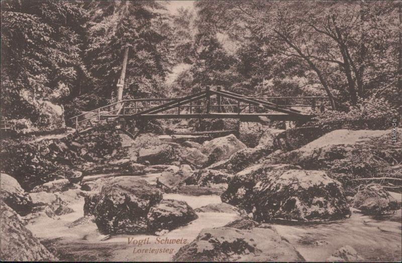 Jocketa-Pöhl Loreleysteg - Holzbrücke, Vogtländische Schweiz 1916