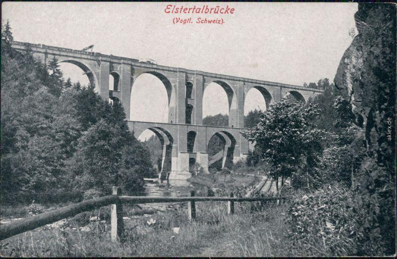 Ansichtskarte Jocketa-Pöhl Elstertalbrücke 1925