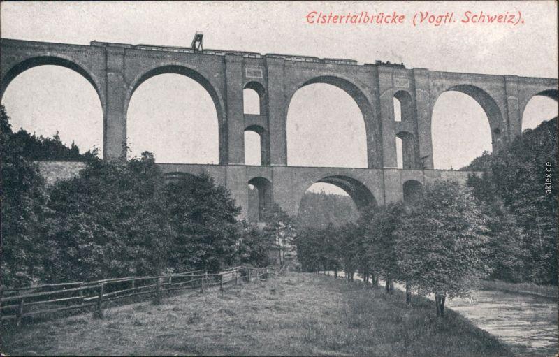 Ansichtskarte Jocketa-Pöhl Elstertalbrücke 2  1925