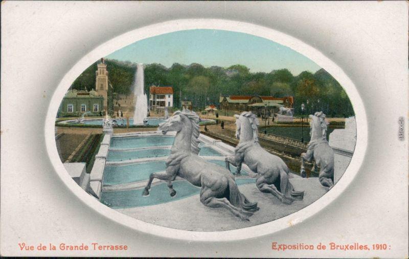 Brüssel Bruxelles Pferdegruppe - Expo Vue de la Grande Terrasse 1910