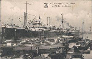 Ansichtskarte Antwerpen Anvers Hafen, Dampfer und Kähne 1913